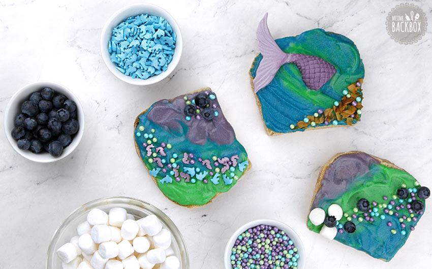 Mermaid Toast mit Schoko Aufstrich