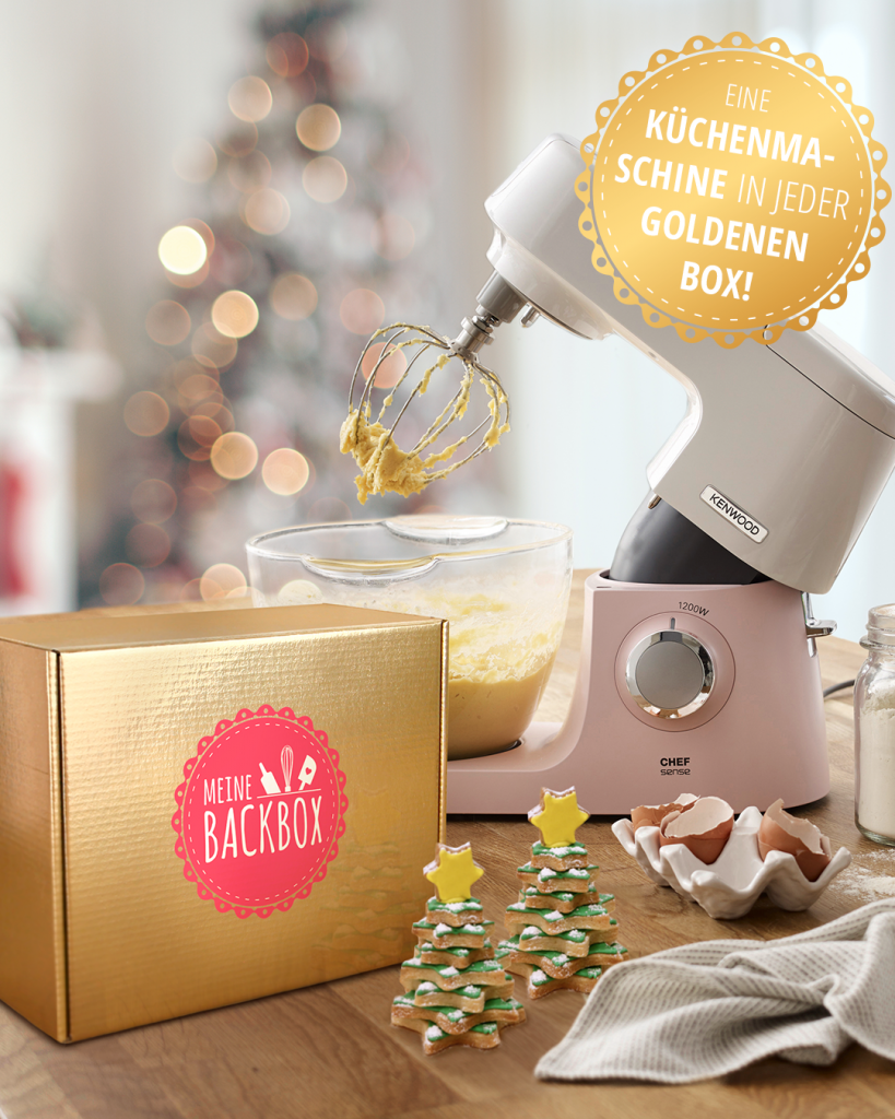 Goldene Box von Meine Backbox – Kenwood Chef Sense Colour Küchenmaschine gewinnen