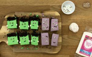 Halloween Rezept: Süßkartoffel Brownies mit Mascarpone-Creme und Honig