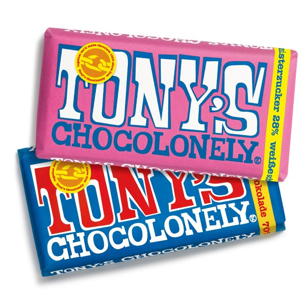 Tony's Chocolonely Weiße Schokolade mit Himbeere und Knisterzucker und Belgische Zartbitterschokolade 70 %