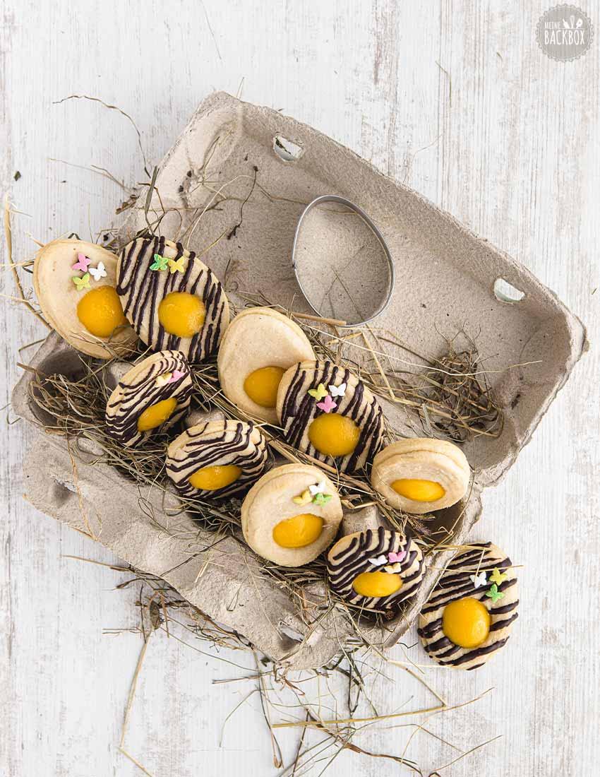 Pfauenaugen Osterplätzchen mit Schokolade