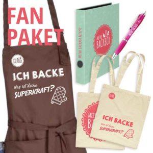 Fan Paket mit Schürze, Beutel, Rezeptordner und Kugelschreiber