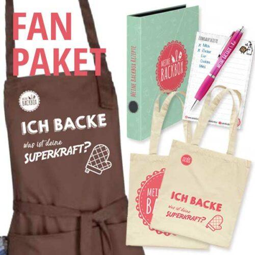 Fan Paket mit Schürze, Beutel, Rezeptordner, Kugelschreiber und Einkaufslisten-Notizblock
