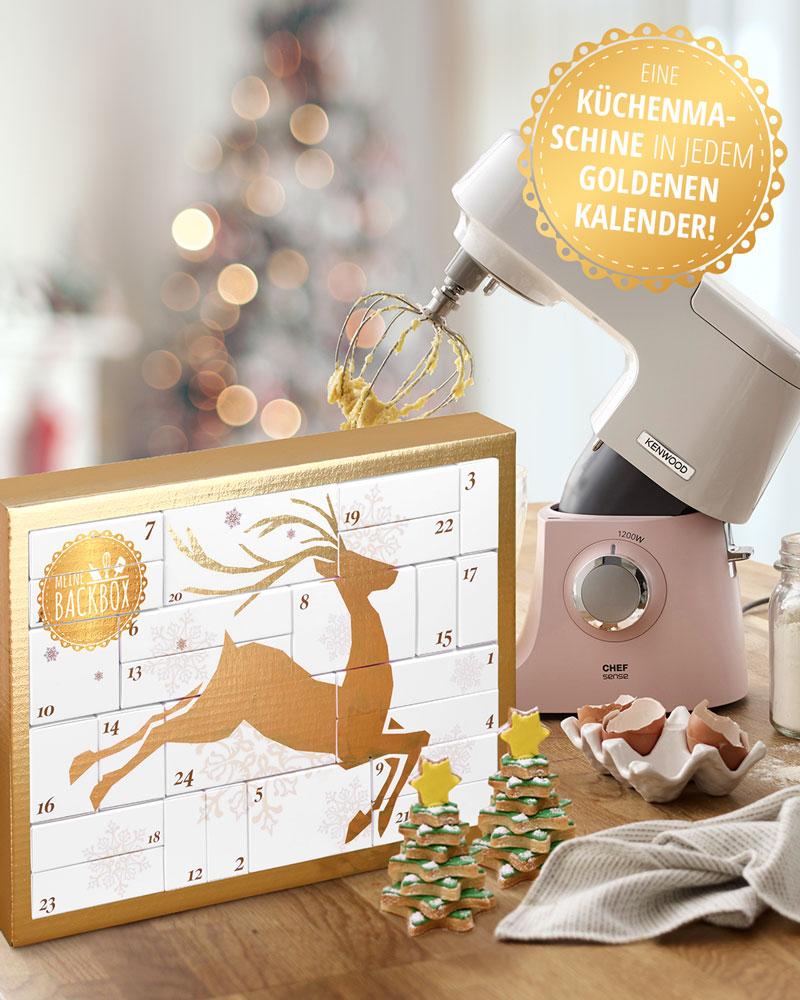 Goldener Kalender von Meine Backbox – Kenwood Chef Sense Colour Küchenmaschine gewinnen